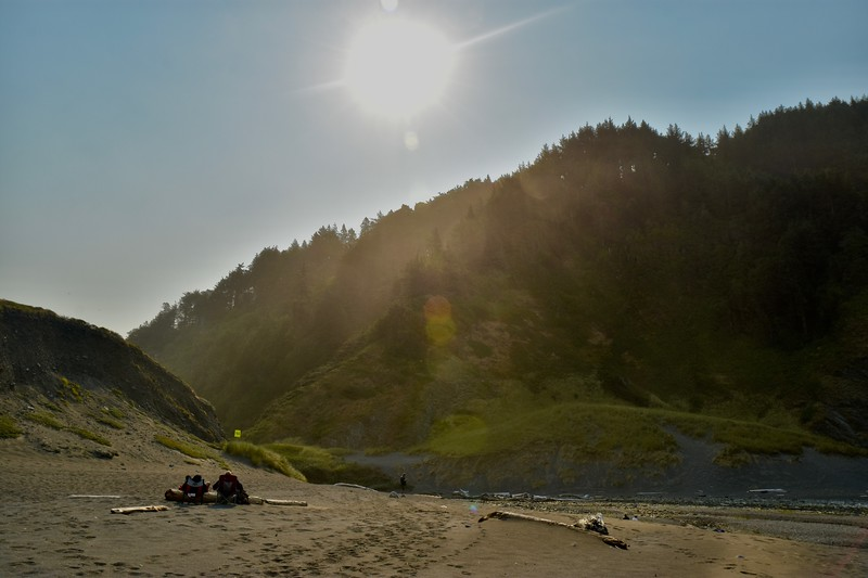 The next day was Monday, Aug. 21, the morning of the total solar eclipse. We headed for the beach and at first were the only people out there. I was surprised, but as the eclipse started some fellow campers made their way to join us.
