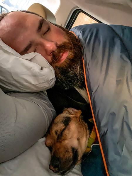 We bought a bunch of warm sheets and blankets for the winter trip and headed out.