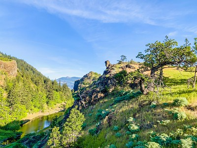 Running along the Columbia River Gorge.