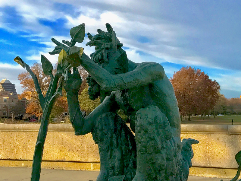Kansas City is known for its fountains. My favorite statue at one of these fountains is this faun south of Theis Park. I wish I had remembered to take its picture when the fountain was still on.