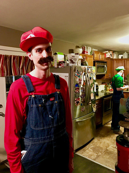 And our movie buddies Jim and Lance!<br /> <br /> The tall one dressed as Mario for Halloween. Unpredictable, those two.