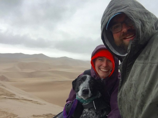 High Dune's wind threw ice pellets at us. I left my camera in its bag and grabbed on a little tighter to Winston.