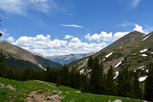 This trail is part of the Continental Divide Trail. Near the top, you can finish at Herman Lake or continue on a long loop. We saw a few backpackers on the trail and one guy setting up camp on our way back down.