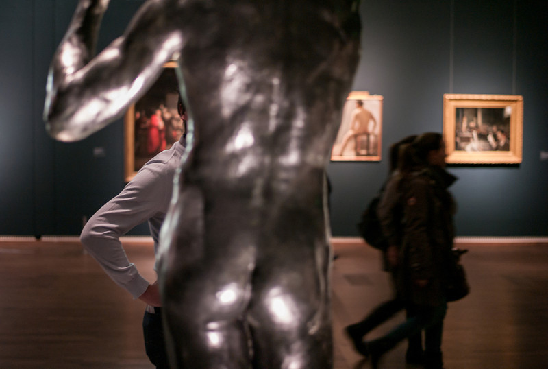 "Bronze sculpture by Auguste Rodin, Title ""The Age of Bronze"" 1877<br /> <br /> Exhibition 'nude men' at Leopold Museum, Vienna."