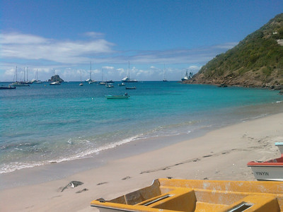 """St Barth 2008 - 16th day (part I)  Weather quite strange today (very warm with sudden heavy rains). Anyway, good half day at Corossol Beach.  François, our Chairman at Innoveo, has joined us in St Barth, as he was off in the Caribbic too. So, we had all 4 together a good breakfast at Maya's to Go, and a lunch at Do Brazil. Cool ;)  The best dinner *ever* this evening in St Barth at the Eden Rock's restaurant. Absolutely fantastic, great service, unforgettable view on the St Jean Bay """"by night"""". We have also seen some turtles in the ocean. Just unbelievable :)"""