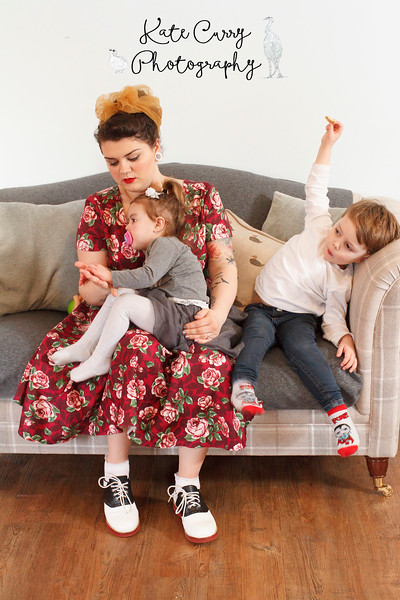 Vintage styled mother with her children