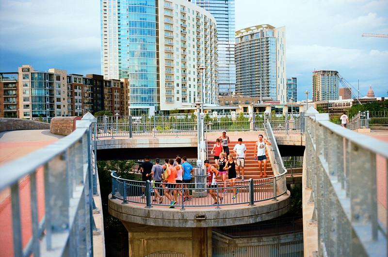 Runners on the Pedestrian Bridge - Austin, Texas