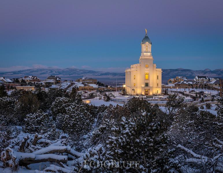 Cedar City, temple, iron county, winter, dawn, sunrise, southern Utah, Utah, snow