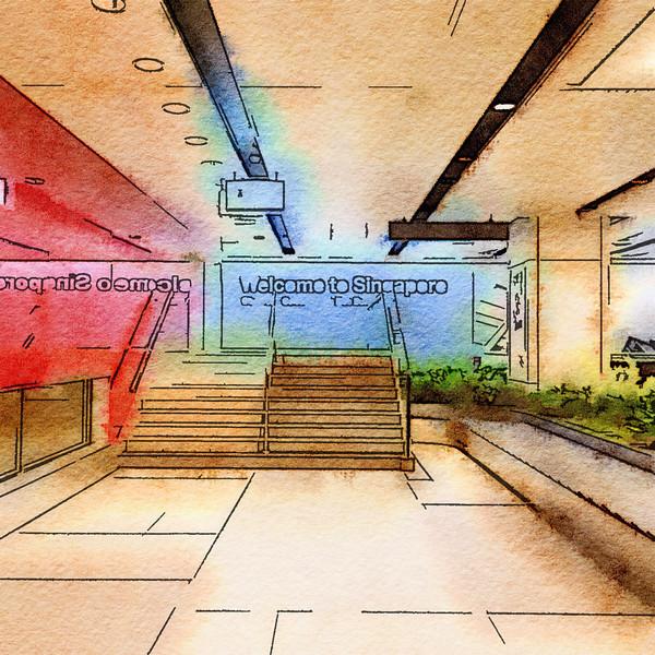 Singapore Airport Watercolor #2