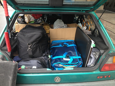 All my stuff, except the pallet I sent with my bike and other bits and bobs