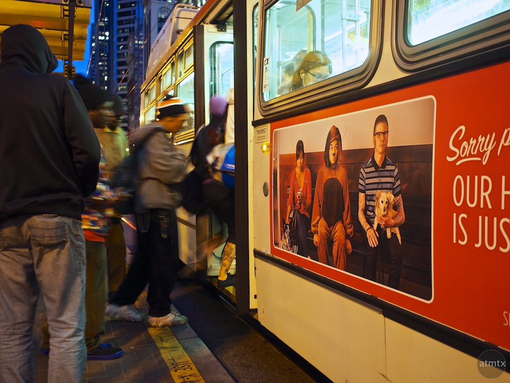 Boarding the bus, Market Street - San Francisco, California