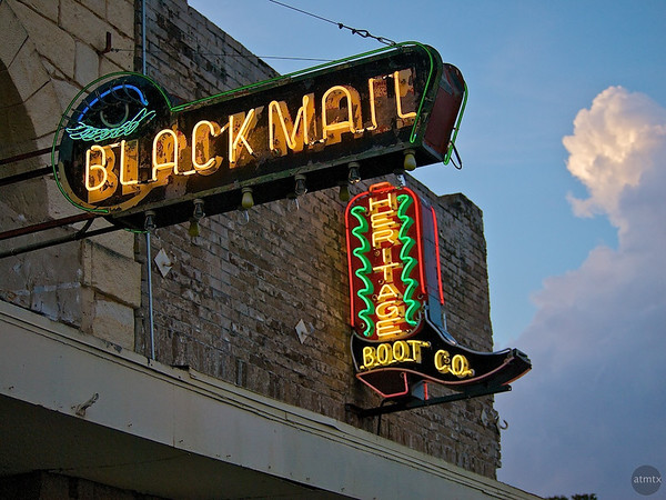 Blackmail and Boot Neon Closeup, SoCo - Austin, Texas