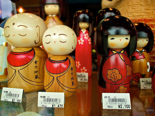 Kokeshi on Display, Store Window - Kyoto, Japan