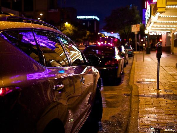 Bright Lights on a Rainy Night - Austin, Texas