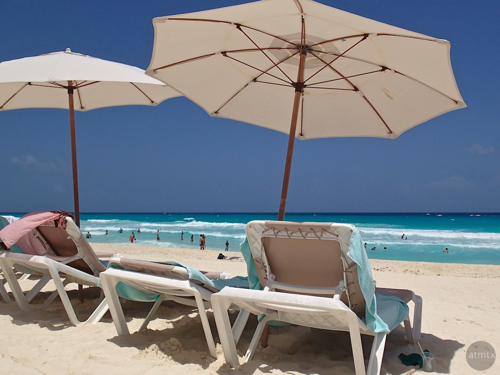 Umbrellas and Lounge Chairs, Hard Rock Hotel - Cancun, Mexico