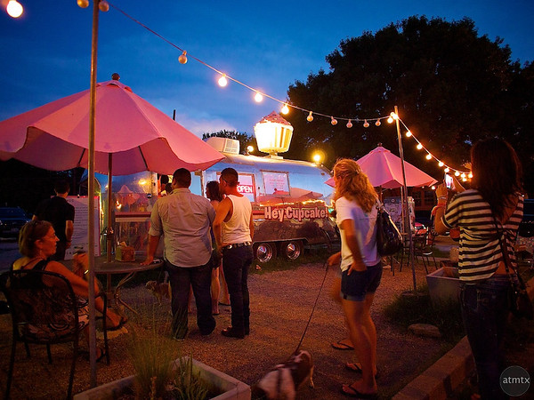 Customers at Hey Cupcake Trailer #2, SoCo - Austin, Texas