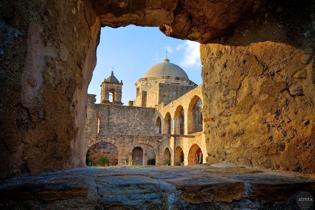 Mission San Jose Through Window - San Antonio, Texas