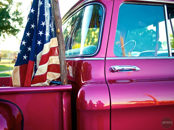 Candy Red Pickup with Flag - Smithville, Texas