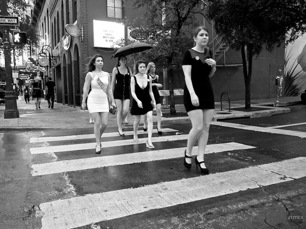 Monochrome Bachelorette Party, 6th Street - Austin, Texas