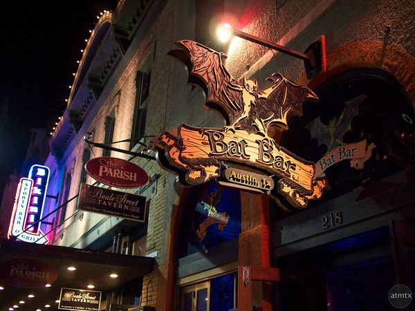 Bat Bar Sign, 6th Street - Austin, Texas