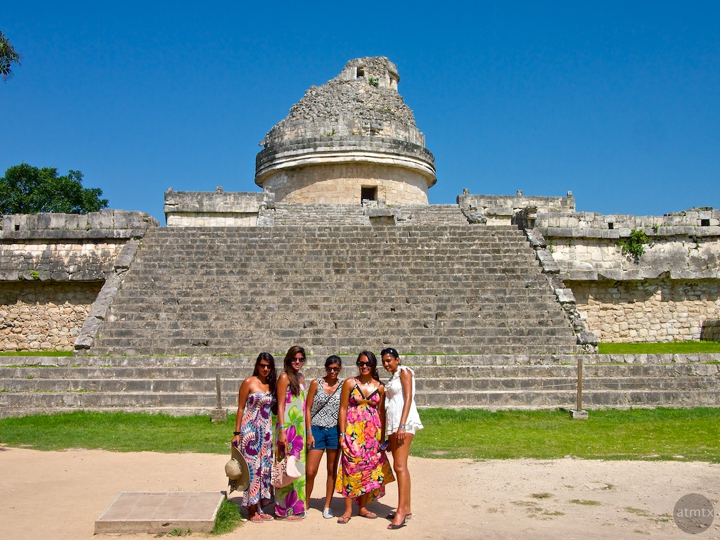 Tourists at the Observatory, Chichen Itza - Yucatan, Mexico