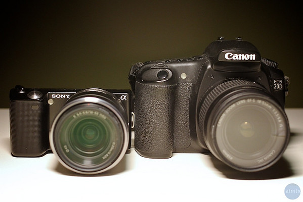 Size Comparison, Sony NEX-5 and Canon 20D