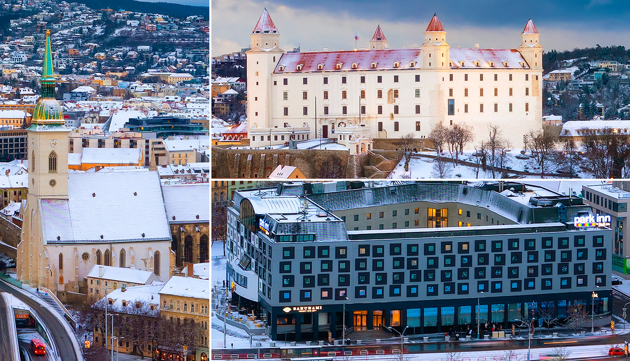 Snow covered Bratislava