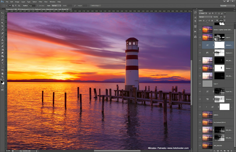 A sunset lighthouse