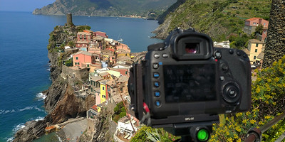 Behind the camera in Vernazza, Italy