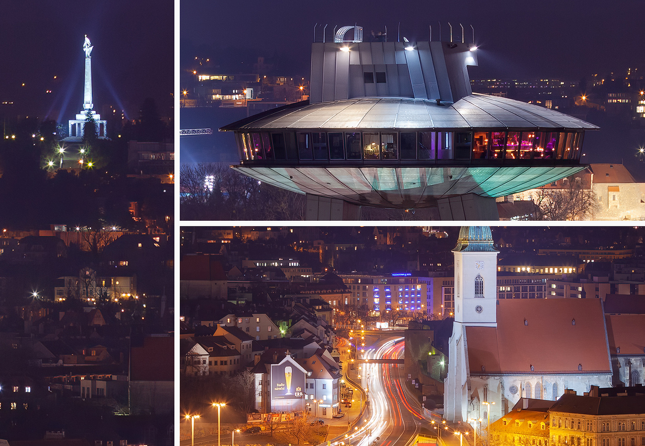Night city lights, Bratislava, Slovakia