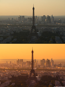 Golden sky at the Eiffel tower, before, after