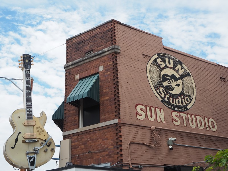 Sun Studio in Memphis has a sign with a large guitar