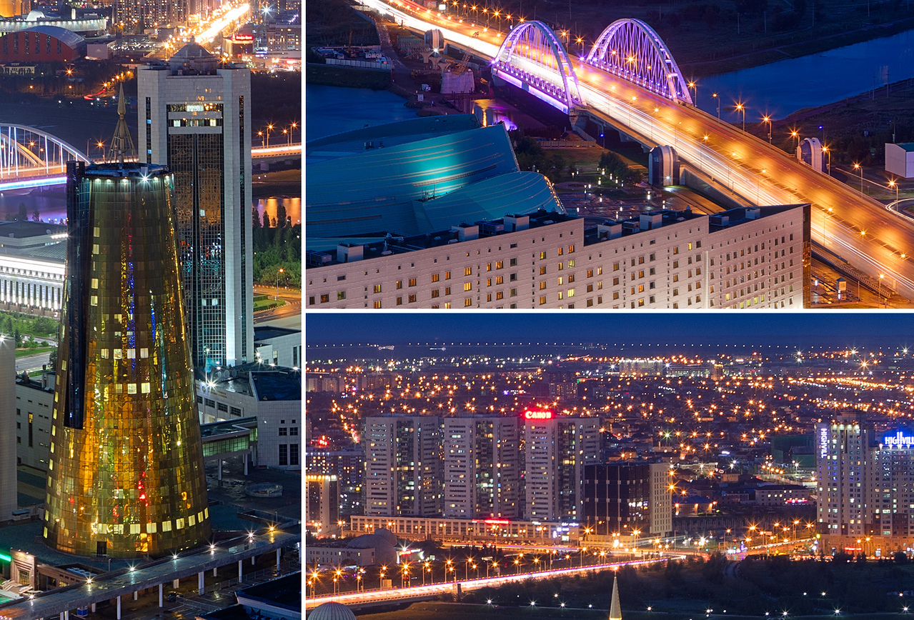Night view of Astana, Kazakhstan