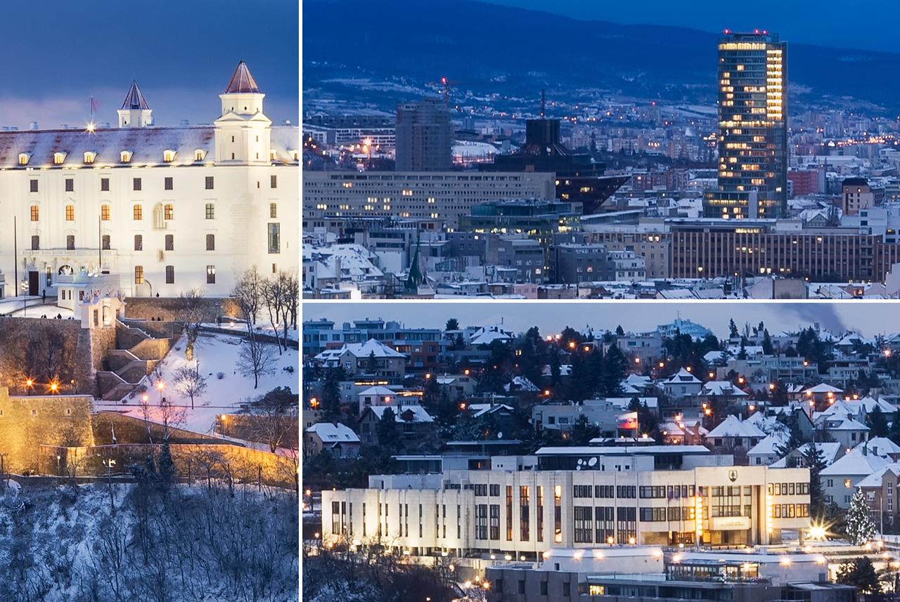 Winter panorama, Bratislava, Slovakia