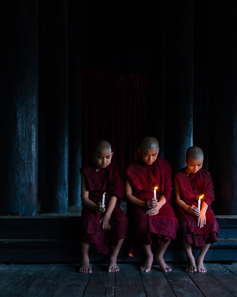 Three Novice Monks from the Shwekyin Monastery (Mandalay, Myanmar 2013)