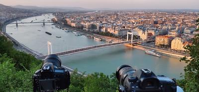 Fireworks over Danube in Budapest