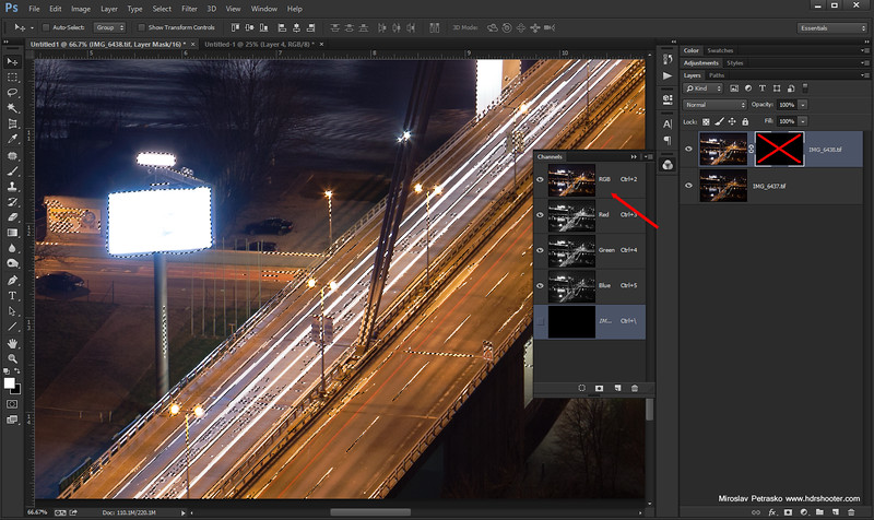 Blending light trails