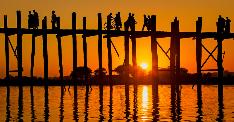 U Bein Bridge at Sunset (Amarapura, Myanmar 2013)