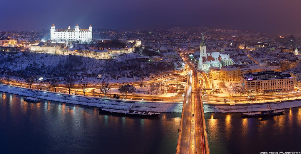 Light changing above Bratislava