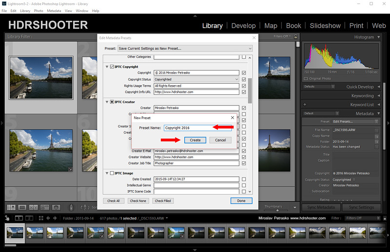 How to apply copyright info in Lightroom