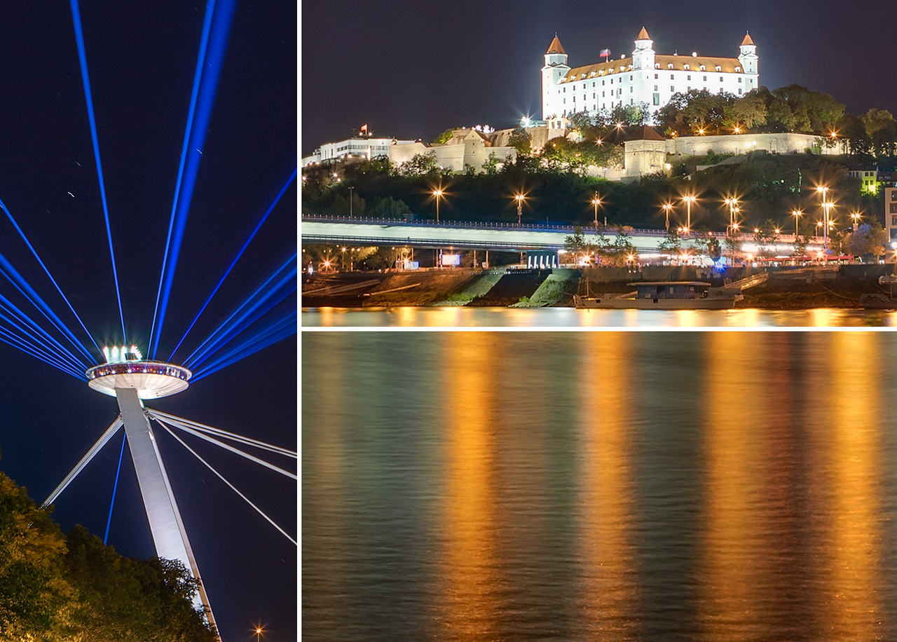 Light beams over Bratislava, White night, Slovakia, detail
