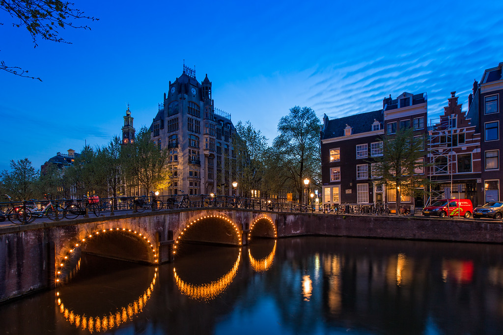 A view of the Leliegracht Bridge on the Keisersgracht Canal (Amsterdam, Holland 2015)