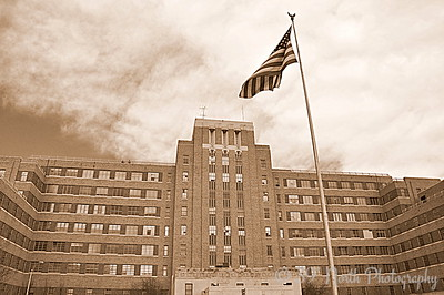 Formerly Fitzsimons (Army Hospital) with Flag by Laurie H.