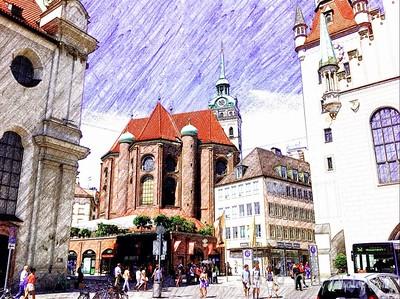 St. Peters Church Munich Sketch Guru App by Dave T.