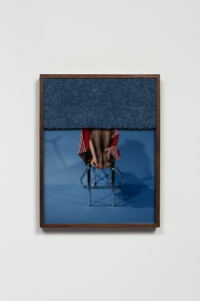 Lassery, E 2014, Untitled (Stool_Legs) A Print Walnut Frame Carpet 36.8 x 29.2cm