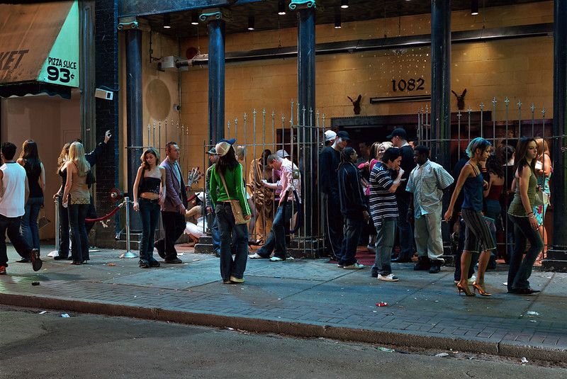 Wall, J 2006, In front of a nightclub, 229cm x 364cm, Colour Transparency in Lightbox, Collection Museum of Contemporary Art Chicago