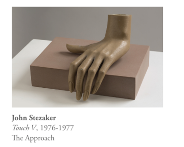 The current CCP Stezaker exhibition also includes 4 vintage dismembered mannequin hands on small plinths. The inclusion of found items that add to the narrative of the act of the artist hand in the collaging technique I found intriguing and something I would like to explore.  The light pressure on the block that signifies actions and a soft and poetic gestures.<br /> The titles bring the works to life and could act as metaphors as well as bodily touch - i.e Touch and Give..<br /> I also found parallel associations with Man Ray's work with hands/gesture.