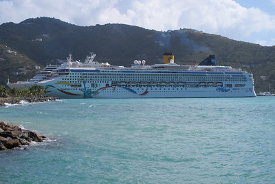 Walking along Waterfront Drive and looking back at our ship, 'Norwegian Dawn'.