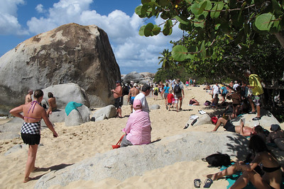 People on the beach at 'The Baths'. Boulders everywhere!