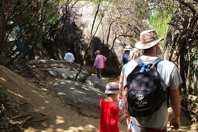 Walking amongst the boulders towards 'The Baths'.